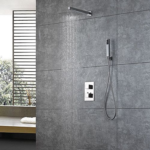 Contemporary 10 Inch Rain Shower Handshower Included Thermostatic