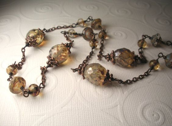 Long Earth Tone Picasso Czech Glass with Antique Copper Necklace.: Earth Tone, Handmade Beaded Jewelry, Antique Copper, Copper Necklace, Handmade Wire, Glass Beads