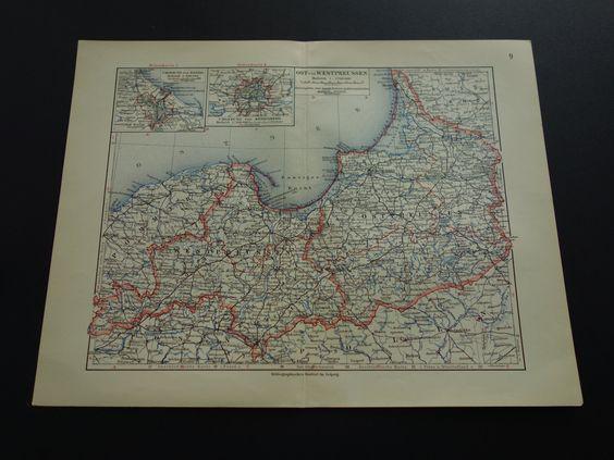 "Old map of Prussia 1913 original vintage poster Danzig Konigsberg - alte karte von Preussen Preußen carte Prusse Germany Deutschland 10x13"" by VintageOldMaps on Etsy"