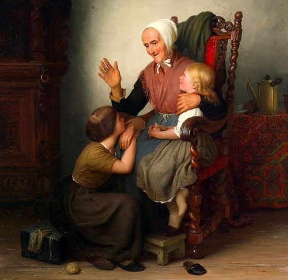 """With the Grandmother"", by German artist - Johann Georg Meyer von Bremen (1813-1886), Oil on canvas."