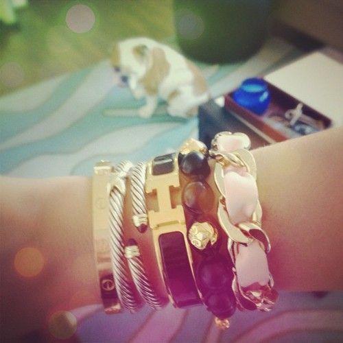 Nialaya Bracelet,Tory Burch Bracelet,Mary Nichols Pink, Cartier Love, Hermés H, David Yurman's: Cartier Davidyurman, Bracelets Jewelry, Stacking Bracelets, Burch Bracelets, Bangles Bracelets, Bracelet Tory, Bangle Bracelets, Armcandy Toryburch