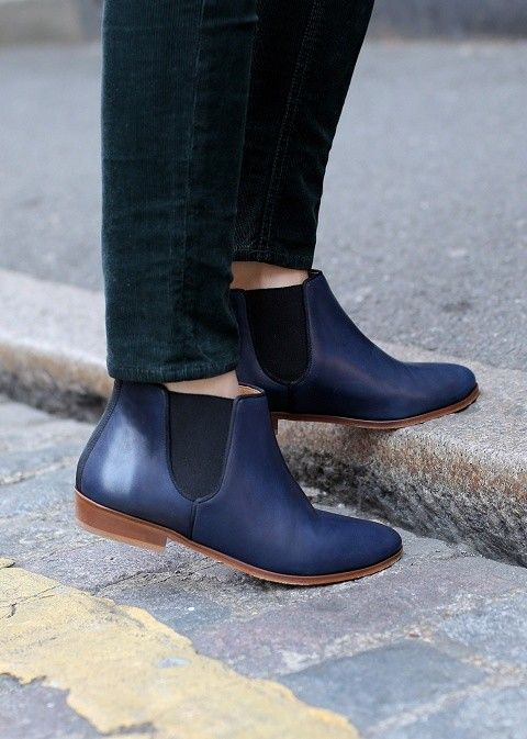 ladies dark blue leather chelsea ankle boots - flat boots | Shoes ...