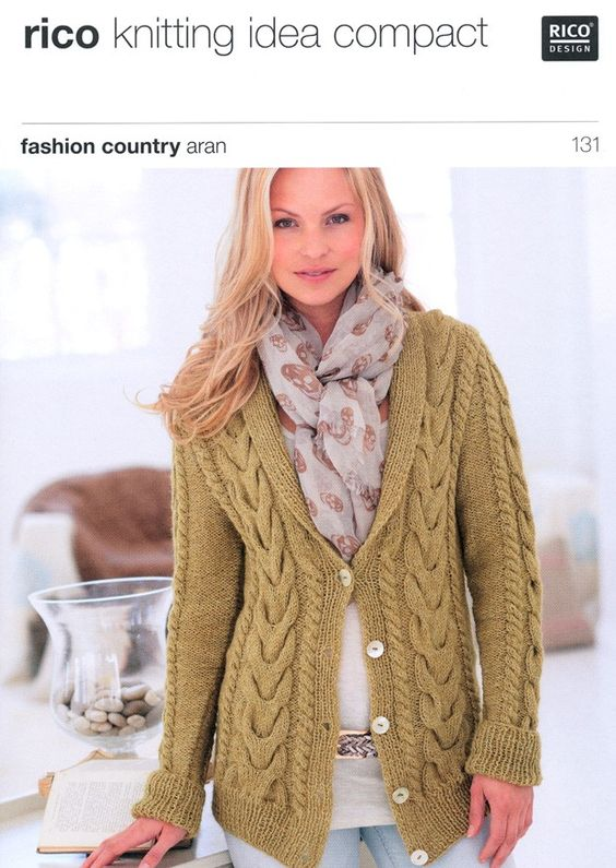 Cabled Cardigan in Rico Design Fashion Country Aran (131) | Deramores