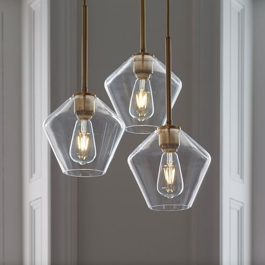 Sculptural Glass Geo 3-Light Chandelier - Small