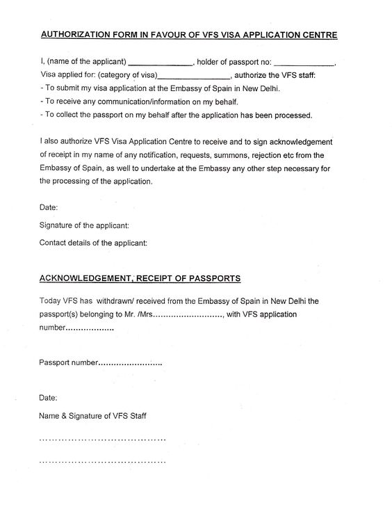Indian Visa India Parental Consent Letter For Minor Passport