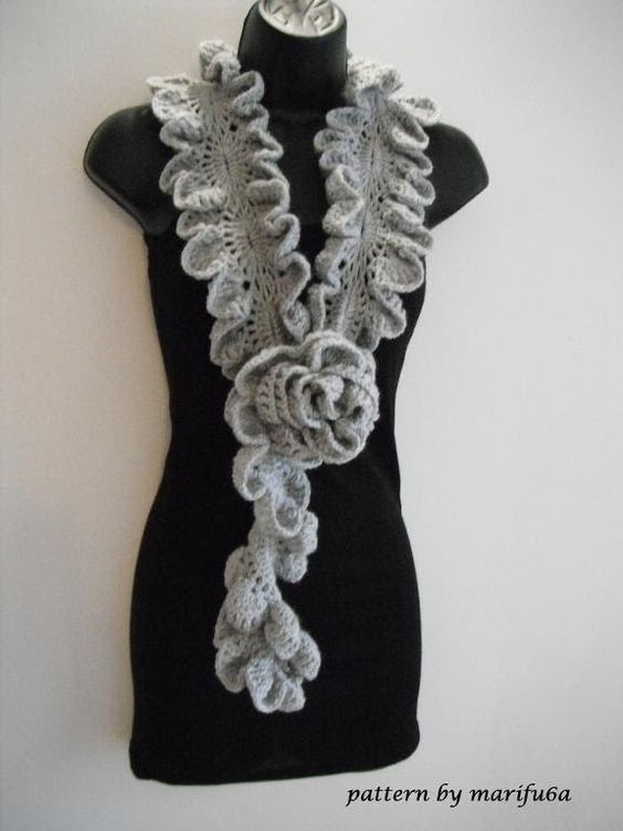 Crochet ruffle, Ruffles and Scarfs on Pinterest