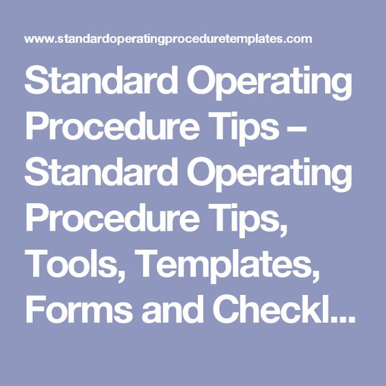 Example Standard Operating Procedure For Hr Department  Tools