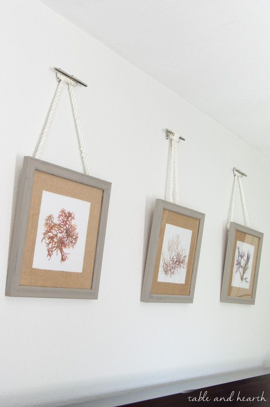 Such A Pretty Way To Hang Pictures Diy Nautical Rope Picture Hangers Shiplap Wall Diy Picture Hangers Nautical Diy