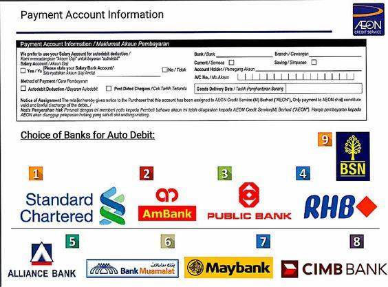 Senarai Bank Untuk Auto Debit  Application Form Requirement