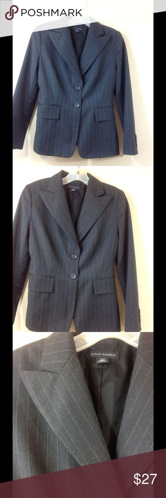 Banana Republic Grey Pinstripe Blazer 2 Petite | Coats Blazers