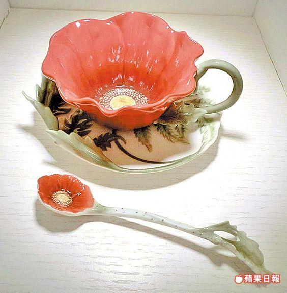 I love this unique flower tea cup, saucer & spoon set!
