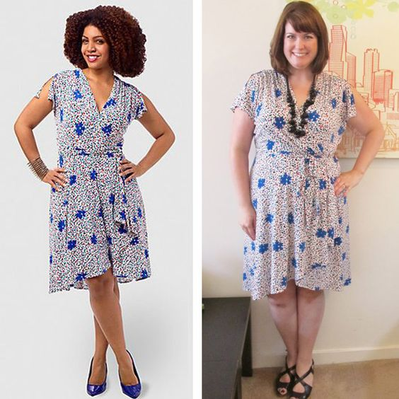 Vicky Tiel Wrap Dress with Flutter Sleeve, sizes L-3X, on another new blogger friend, Sara B. ofBombshell Beauty!