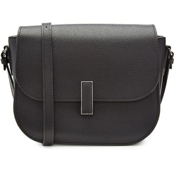 Valextra Leather Shoulder Bag ($1,900) ❤ liked on Polyvore featuring bags, handbags, shoulder bags, black, genuine leather handbags, shoulder bag handbag, genuine leather purse, shoulder handbags and valextra handbags