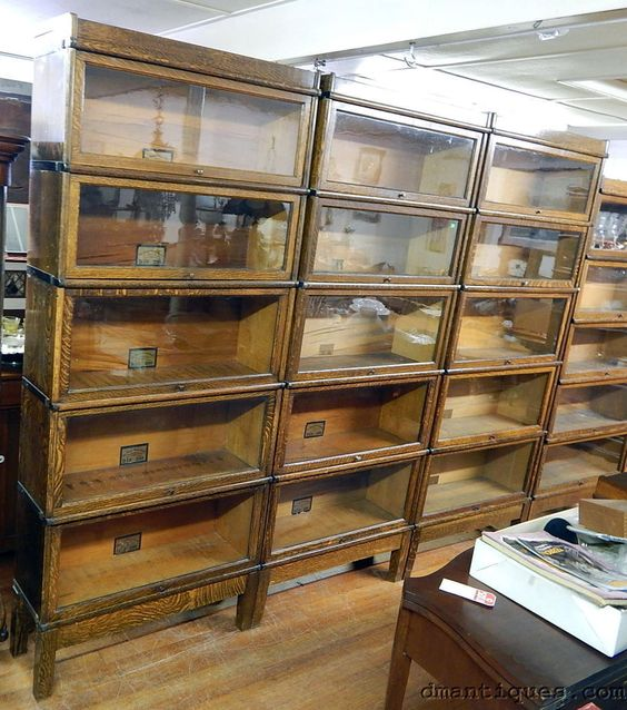 3 Antique Globe Wernicke Mission Oak Office Library Sectional Stacking Bookcases