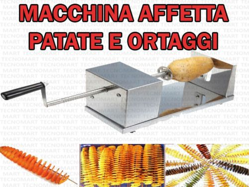 MACCHINA-ACCIAIO-TAGLIA-PATATE-ORTAGGI-FRUTTA-SPIRALE-CUCINA-DECORAZIONI-BUFFET