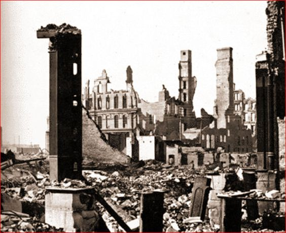 city left ruined after the chicago fire of 1871 The great chicago fire was a large fire that started on sunday october 8, 1871 in chicago, illinois, united statesthe fire started out as nine separated fires it burned until tuesday october 10, 1871 when rain started to fall the fire destroyed 33 square miles (85 square kilometers) and $192,000,000 in property about 100,000 people were left.