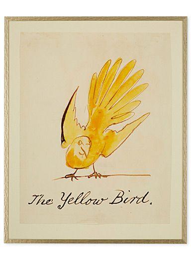 Cet article est disponible pour achat en ligne et livraison à domicile uniquement.     D'abord destinée à illustrer un livre pour enfants, cette aquarelle de l'artiste Edward Lear, créée dans les années 1880, présente un oiseau moqueur à la teinte jaune ensoleillée.  Chaque pièce est imprimée et encadrée sur demande. Veuillez donc allouer un délai plus long pour la livraison de cet article.      MATÉRIAUX ET FINI   Image sur papier mat allemand haute résolution à enduit premium, verre de…
