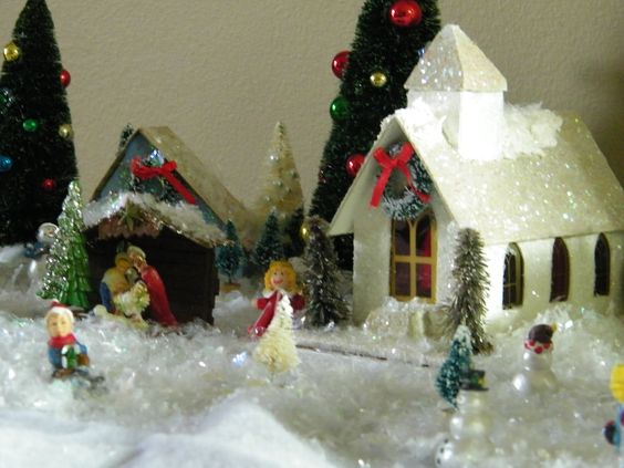 Vintage glitter church with old nativity