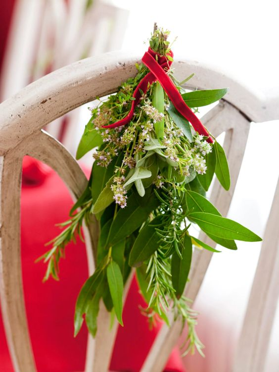 Fragrant Herb Chairback Decorations | 50 Awesome DIY Yule Decorations and Craft Ideas You Can Make for the Winter Solstice