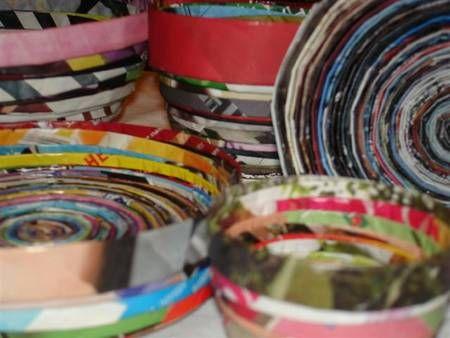 Recycled magazine bowls