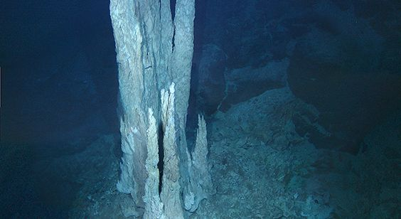 "New Study Outlines 'Water World' Theory of Life's Origins - Astrobiology Magazine This image from the floor of the Atlantic Ocean shows a collection of limestone towers known as the ""Lost City."" Alkaline hydrothermal vents of this type are suggested to be the birthplace of the first living organisms on the ancient Earth. Image courtesy D. Kelley and M. Elend/University of Washington"