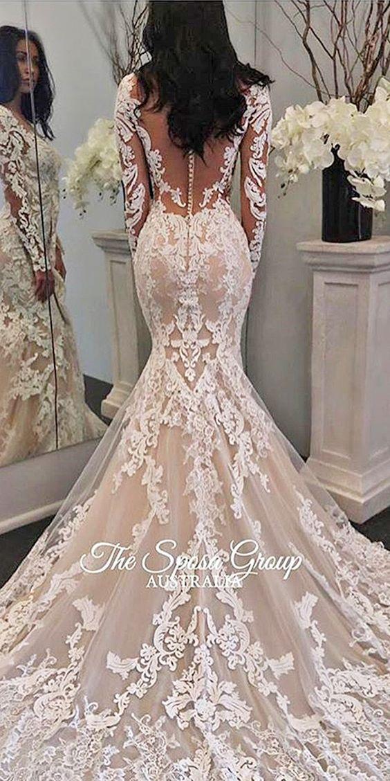 Chic Long Sleeve Wedding Dresses ❤ See more: http://www.weddingforward.com/long-sleeve-wedding-dresses/ #weddings: