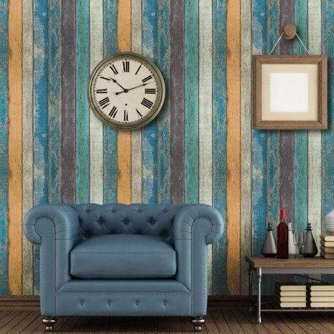 Creative Retro Wooden Stripes Pvc Waterproof Self Adhesive Wallpaper Retro Home Decor Retro Home Wall Decor Stickers