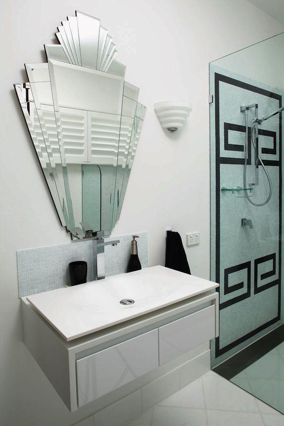 gatsby inspired interior black and white greek key tile pattern with art deco inspired mirror art deco inspired pinterest
