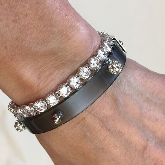 Glazed Bracelet Licorice Bangle Bracelet - Transparent resin in a sweet shade of licorice, finished with dots of polished silver and cut crystals. Tennis bracelet is available in a separate listing. New with tags in gift box. Jewelry Bracelets