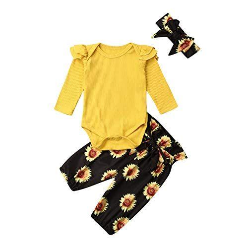 Baby M/ädchen Langarm Red Romper Floral Hose Stirnband 3 St/ück Kleinkind Baumwolle Outfits Set f/ür 0-24 Monate