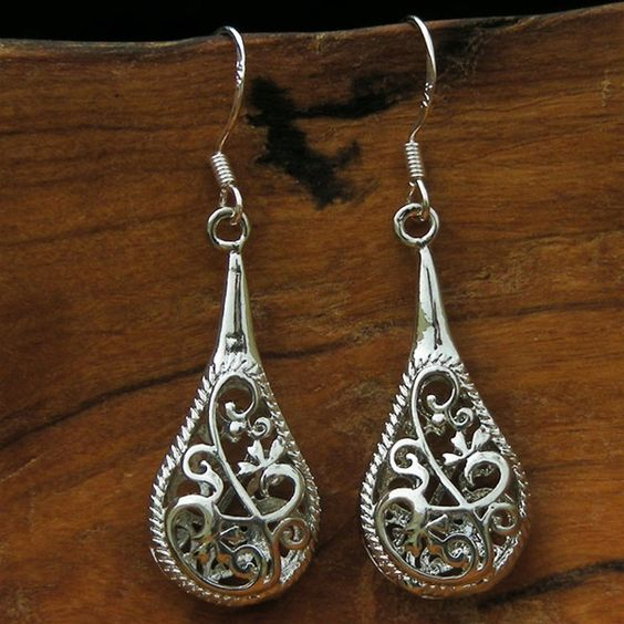 Sterling Silver Filigree Rain Earrings