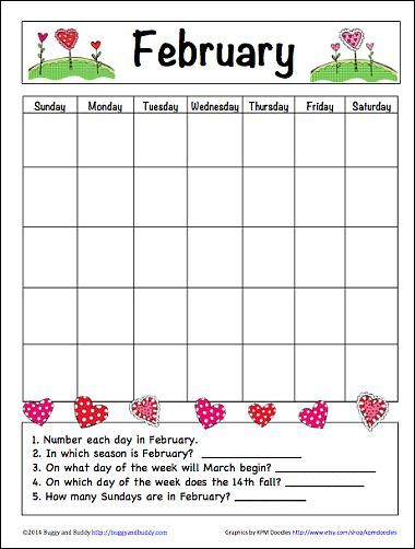 Calendar Worksheet Grade : February learning calendar for kids free printable math