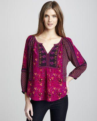 Mixed-Print Silk Top by Rebecca Taylor at Bergdorf Goodman.