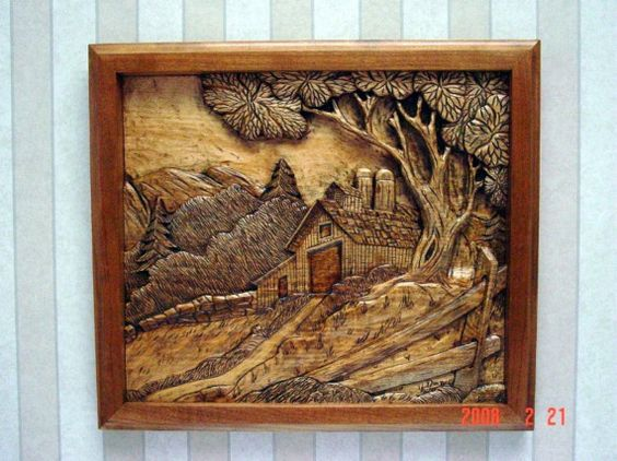 Barn silo relief carving by clocksandwoodart on etsy