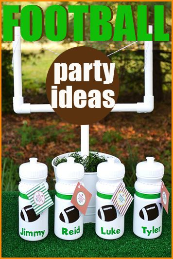 """Football Party.  """"Fan-tastic"""" ideas for a boys sports party.  Creative football party snacks, desserts and table decor.  DIY football party favors to use for a birthday or sports team party."""