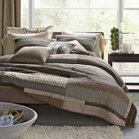 Essex contemporary quilt essex neutral bedding collection for Bedroom quilt ideas