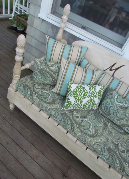 repurpose a bed headboard to a bench