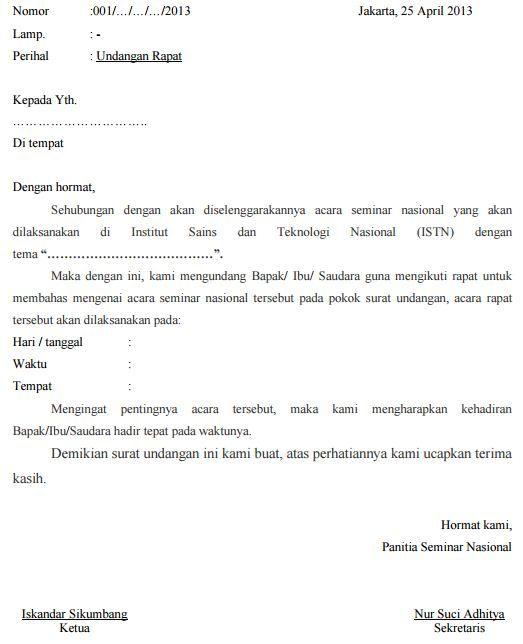 Surat Undangan Resmi Dan Tidak Resmi