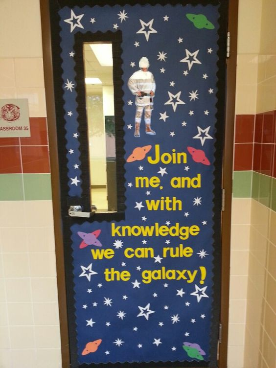 This is a cute idea for a star wars themed door the glare for Idea door primary