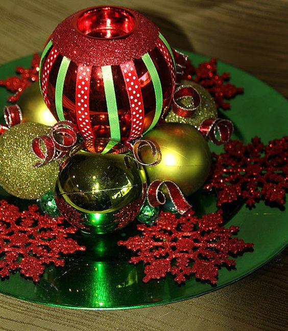 Christmas Snowflake Votive Centerpiece - Red and Green Holiday Decoration