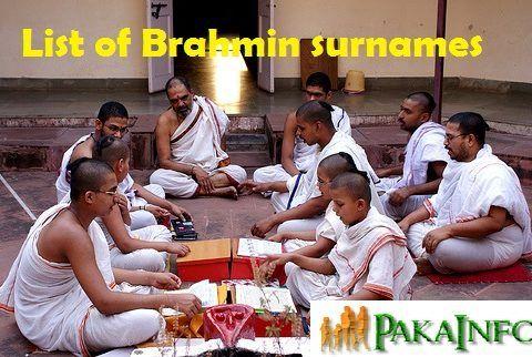 List of Brahmin surnames Gotras and communities
