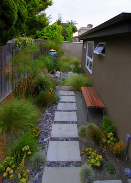mid century modern landscaping garden park bench