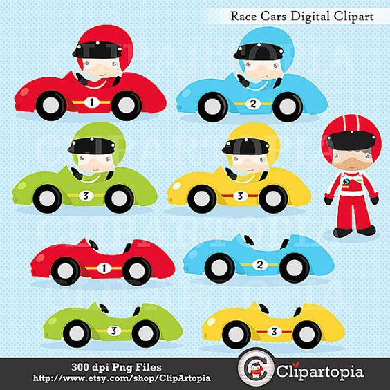 Race Cars Digital Clipart / Racing Cars For Personal and ...