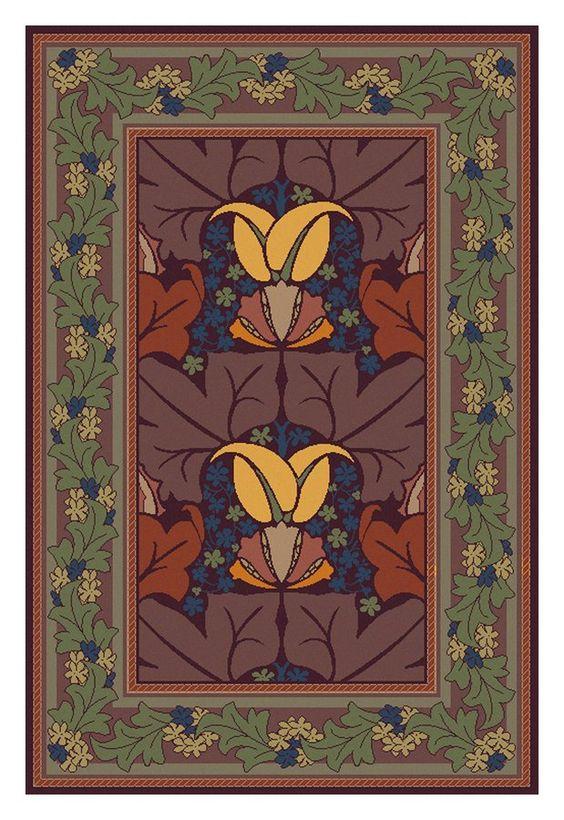 Craftsman style rug guildcraft wykehamist harvest for Guildcraft arts and crafts