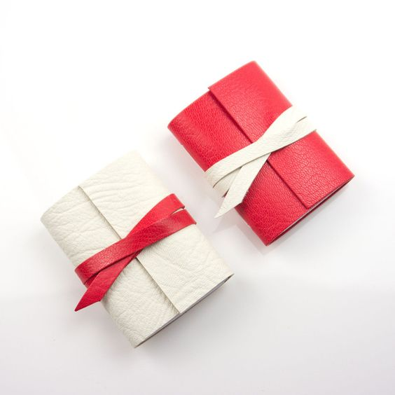 NEW Leather Mini Journal White & Red