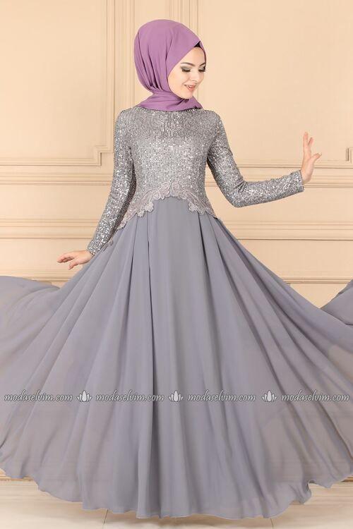 Modaselvim Abiye Pul Payetli Sifon Abiye Alm52745 Gumus Elbise Elbiseler The Dress