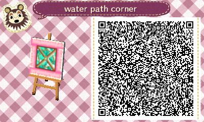 "charmiacrossing: "" The water paths I made for my previous town! I may use it in my current town too :) I was too lazy to make 4 corners so I just made a generic corner haha. """