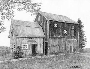 Country Western Drawing - Old Barn by Sarah Batalka