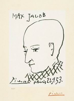 Pablo Picasso  1881, Malaga, Spain - 1973, Mougins, France  Portrait of Max Jacob 1953  Lithograph, 36/75  50 x 32.5 cm  The Vera and Arturo Schwarz Collection of Dada and Surrealist Art in the Israel Museum