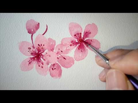 Easy To Paint A Cherry Blossom Tree For Beginners Schmincke Watercolor Paint Cherry Blossom Painting Acrylic Cherry Blossom Painting Cherry Blossom Drawing